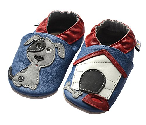 Jinwood designed by amsomo - Dog Oceanblue - Mini Shoes - Hund - Hausschuhe - Lederpuschen - Krabbelschuhe, EU 33/34
