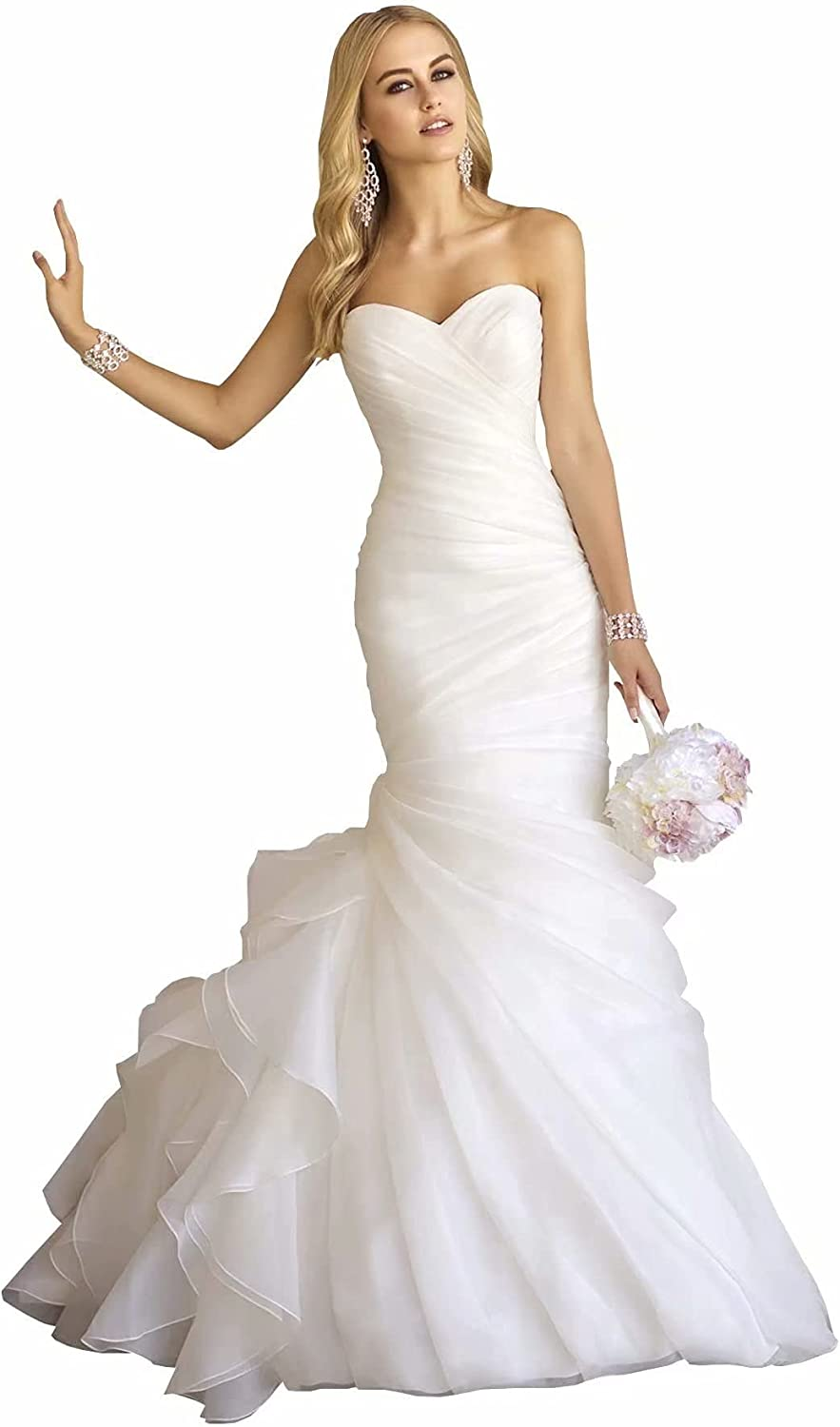 Women's Mermaid Wedding Dress for Bride Sweetheart Ruched Organza Bridal Gown 2021