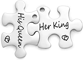 Valentine's Day Her King & His Queen Puzzle Keychain Pendants Set Personalized Couples Stamped Chain Necklace