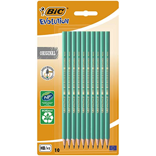 Lápices de grafito HB (pack de 10), Bic Evolution Ecolutions