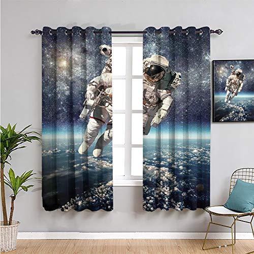 SONGDAYONE Galaxie-Stoffvorhang, Vorhänge, 160 cm Länge, Astronaut schwebt Weltraum mit Planet Erde Globus surreale Schwerkraft Bild Weltraumkunst Wasserdichter Stoff B 107 x L 160 cm Grau Blau
