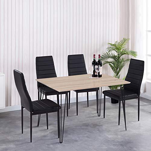 GOLDFAN Esstisch mit 4 Stuhl Essgrupp Rechteckiger Holztisch und 4er Kunstlederstuhl Wohnzimmertisch für Esszimmer Küche