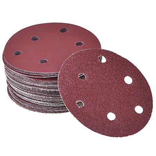 Grano 80 6 Agujeros 225 mm Corind/ón Normal MENZER Red Discos Abrasivos con Velcro para Lijadoras de Pared 25 Piezas