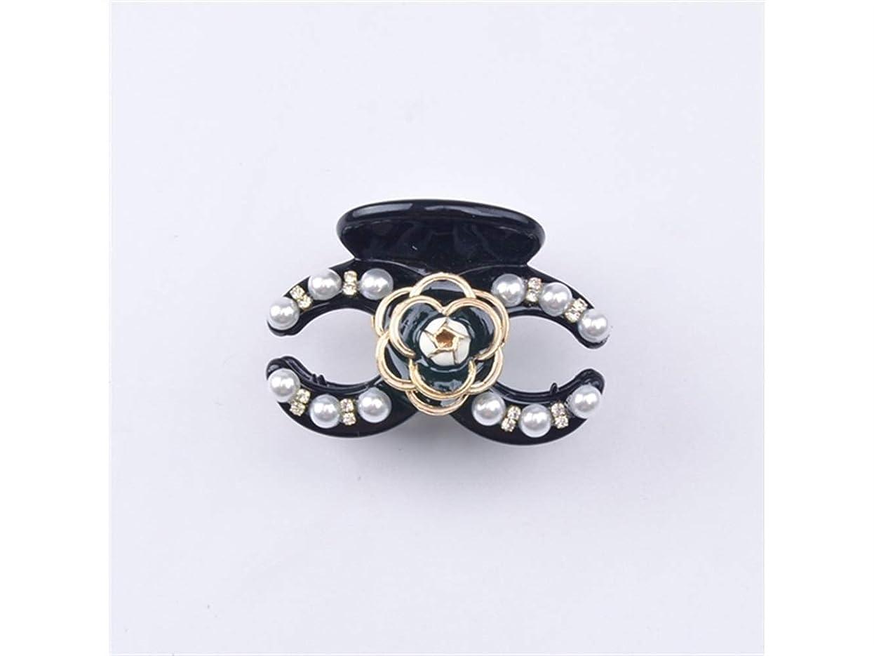 優雅発明するやむを得ないOsize 美しいスタイル フラワーパールラインストーンスモールクロークリップミニジョークリップヘアアクセサリー(ブラック+ブラックフラワー)