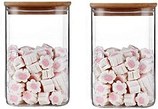 Annfly Lot de 2 bocaux de rangement en verre avec couvercles hermétiques en bambou pour la cuisine et le stockage des alim...