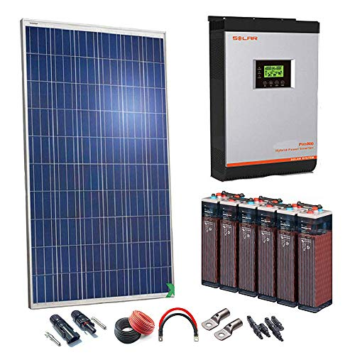 Kit Solar 24v 1000w/5000w día Inversor Multifunción 3kva Regulador PWM 50A Batería 5OPzS 375Ah