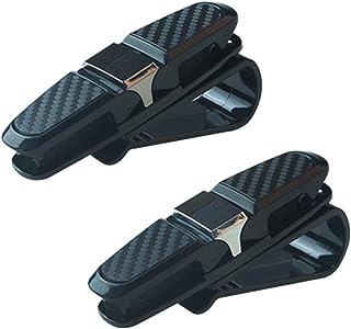 2 Stück Brillenhalter für Auto Sonnenblende Doppel End Clip 180 Grad Dreh Brille Montieren mit Ticket Card Clip für Alle Autos (Grau + Silber)