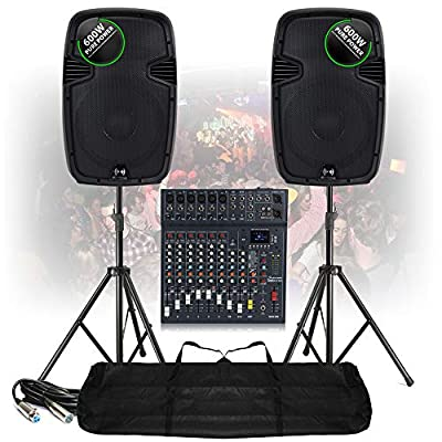 PA Speaker Stage System 10-Ch Bluetooth Live Mixer 1200W Active with Stands