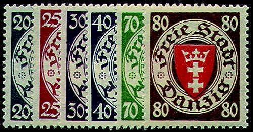Goldhahn Danzig Nr. 245-250 postfrisch  Briefmarken für Sammler