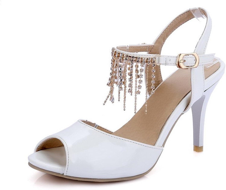 AmoonyFashion Women's Peep Toe High-Heels Patent Leather Solid Buckle Heeled-Sandals