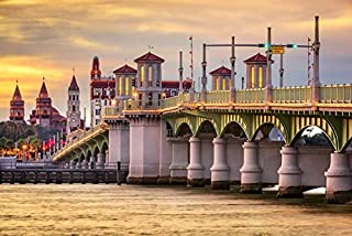 St, Augustine, Florida - Skyline at Bridge of Lions - Photography A-92673 (24x36 Fine Art Giclee Gallery Print, Home Wall Decor Artwork Poster)