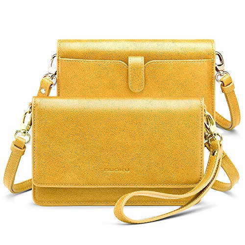 nuoku Women Small Crossbody Bag Cellphone Purse Wallet with RFID Card Slots 2 Strap Wristlet(Max 6.5'')  (Yellow)