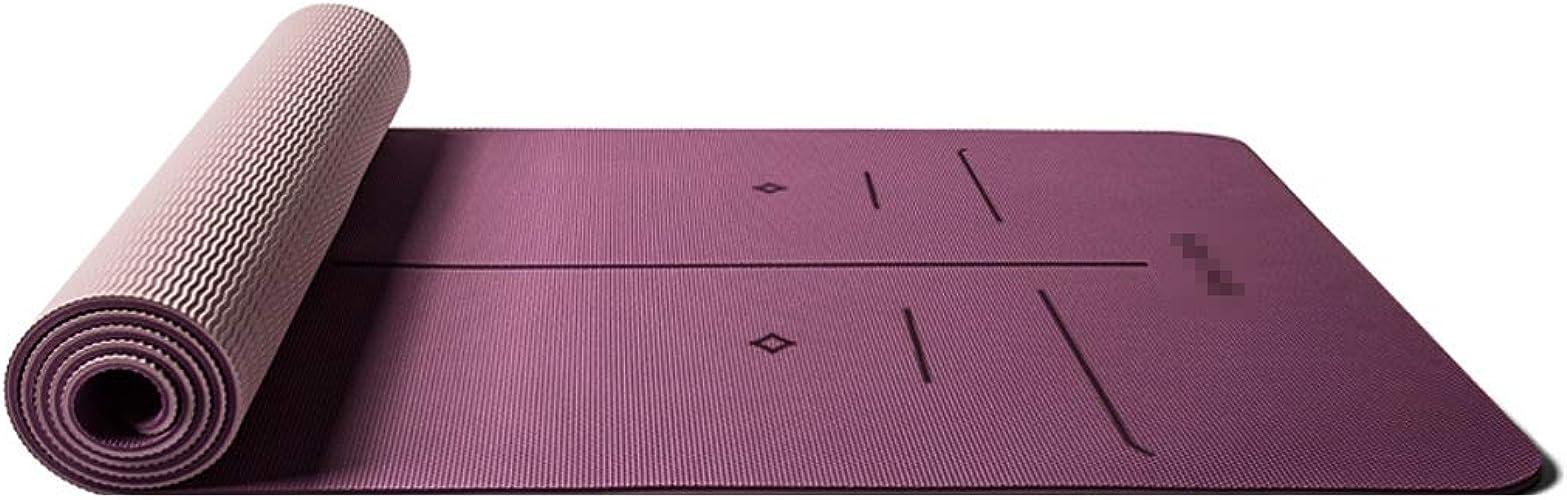 SGLI Tapis de Yoga antidérapants BiCouleures antidérapants TPE épaississement élargi Long Tapis de Fitness Tapis de Base pour débutant Tapis de Yoga (Couleur   B, Taille   183cm×66cm×8mm)