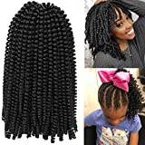 Spring Twist Crochet Braids Hair Extensions Fluffy Passion Twist Hair Extension High Temperature Synthesic Curly Hair for Girl(12inch, 6pack 1B)