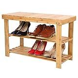 bakaji panca scaffale scarpiera portascarpe casa multiuso 2 scaffali legno di bambu dimensione 70x28x45cm colore bamboo naturale (seduta normale)