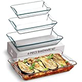 Superior Glass Casserole Dish Set - 4 Piece Rectangular Bakeware Set, Modern Unique Design Glass Baking Dish Set - Grip Handles for Easy Carry from Hot Oven To Table, Nesting for Space Saving Storage.