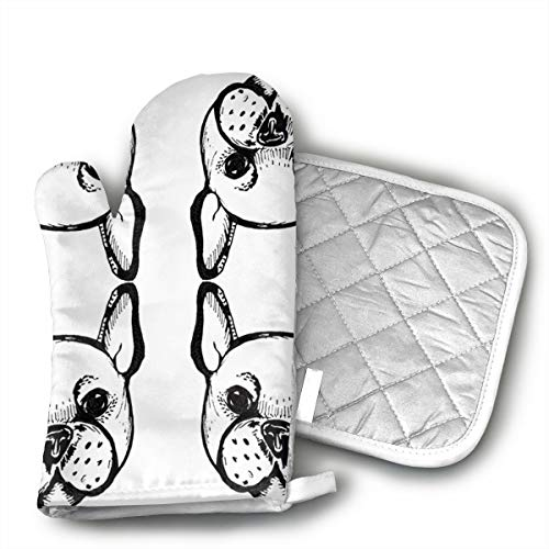 French Bulldog Black and White Giftwrap Oven Mitts and Potholders (2-Piece Sets) - Kitchen Set with Cotton Heat Resistant,Oven Gloves for BBQ Cooking Baking Grilling