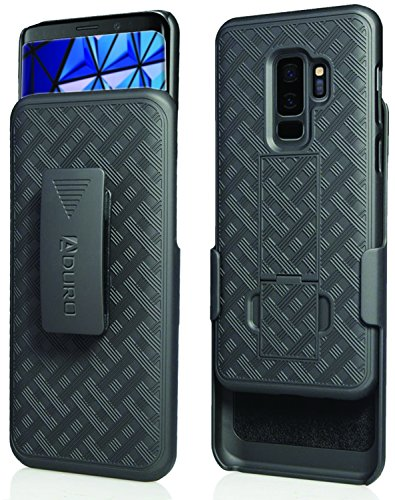 Aduro Samsung Galaxy S9 Plus Belt Clip Holster Case, Combo Galaxy Case with Kickstand Rotating Belt Clip Super Slim Shell for Samsung Galaxy S9+ Plus (ONLY) Phone (2018)