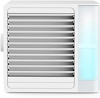 CFmoshu Climatizador Evaporativo Aire Acondicionado Y Humidificador Air Cooler Ventilador USB Humidificador Portátil 2 Velocidades Led De Luces Nocturnas 1000 Ml De Capacidad para Hogar