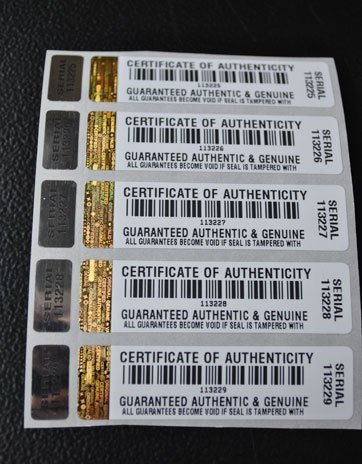 1000 X COA Certificate of Authenticity Tamper Evident Security Stickers/Labels with Hologram and Corresponding Small Label