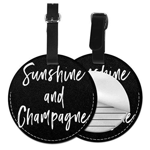 Kofferanhänger PU Leder Sunshine Champagne Great Vibes Wein Slogan, Gepäckanhänger ID Etikett Mit Adressschild Namenschild für Reisetasche Koffer