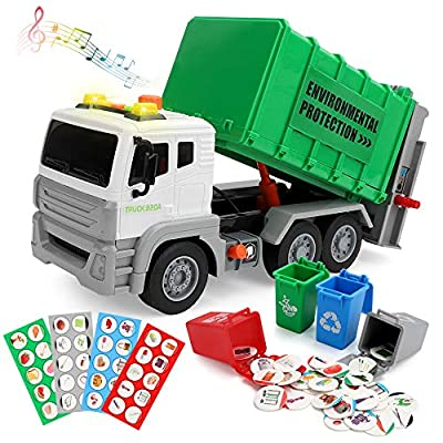 Garbage Truck Toy Friction-Powered Recycling Truck Toy with 4 Rear Loader Trash Cans,Dump Truck Toy Play Vehicles Car Toys Gifts for 3 4 5 6 Years Old Kids Boys Girls by aomola