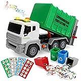 BeebeeRun Camión de Basura con Luces y Sonidos,Camión Juguete para Niños,Vehiculos Regalo Juguete Educativos 2-5 Años Niño Niña