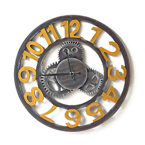 BAIYI Retro Industrielle Wind Mechanische Getriebe Ornament 60 cm Getriebe Tisch Getriebe Uhr Wand Wanddekoration Wanduhr
