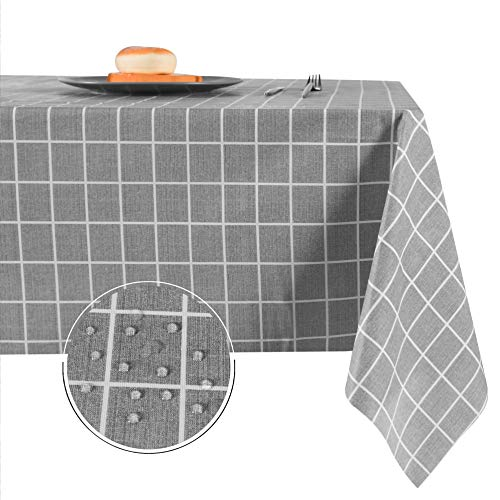 Obstal 100% Waterproof PVC Table Cloth, Oil-Proof Spill-Proof Vinyl Rectangle Tablecloth, Wipeable Table Cover for Outdoor and Indoor Use, 54x54 Inch, Grey Checkered Pattern