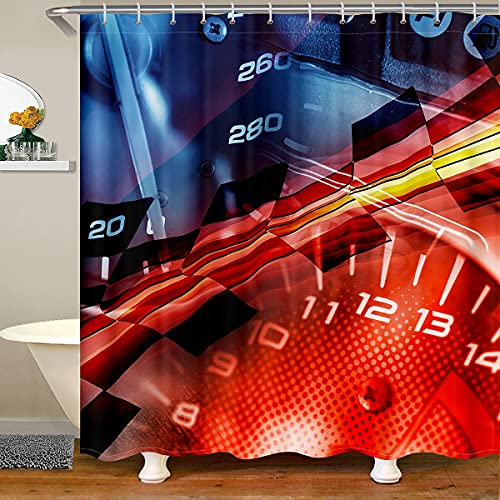 richhome Cortina de baño moderna para decoración de habitación con reloj rojo, cortina de ducha para adolescentes y adultos, diseño digital, impermeable, 12 ganchos para bañera, 72 W x 84 L