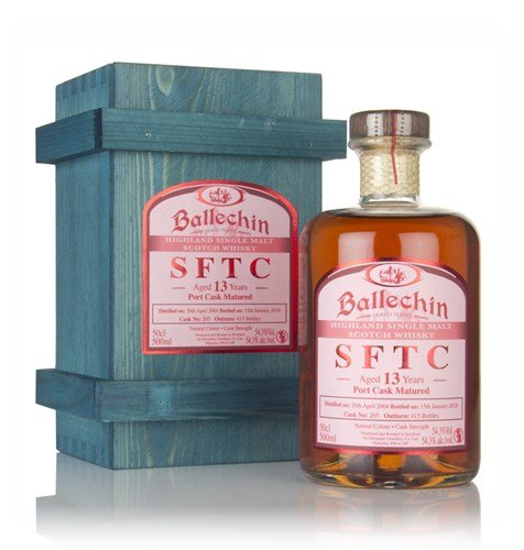 Edradour Ballechin SFTC 13 Years Old Port Cask Matured in Holzkiste 2004 Whisky (1 x 0.5 l)