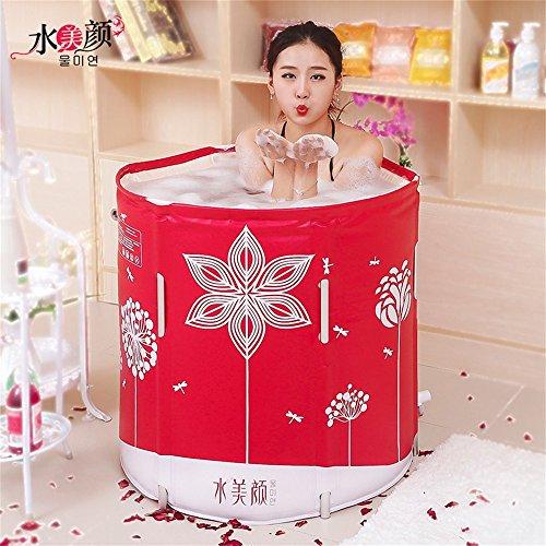AINUO Bathtub Zusammenklappbar Badewanne tragbar Non-Inflatable Erwachsene Bidet Dicker Leder Textur Legierung Lift Baden Barrel Baby Badehose Integrierter Kissen