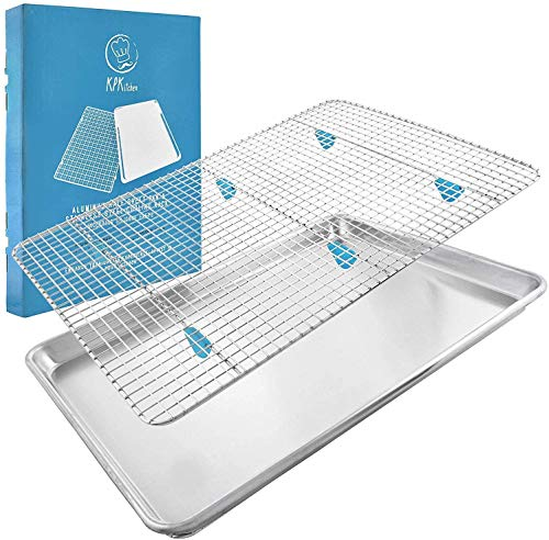 KPKitchen Baking Sheet with Wire Rack Set - Aluminum Half Sheet Pans for Cooking with Stainless Steel Wire Baking Rack for Oven Cooking Rack - Includes Silicone Feet for Bacon Rack for Oven