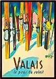 Vintage Valais Schweiz Ski Reise Poster Metall Blechschild