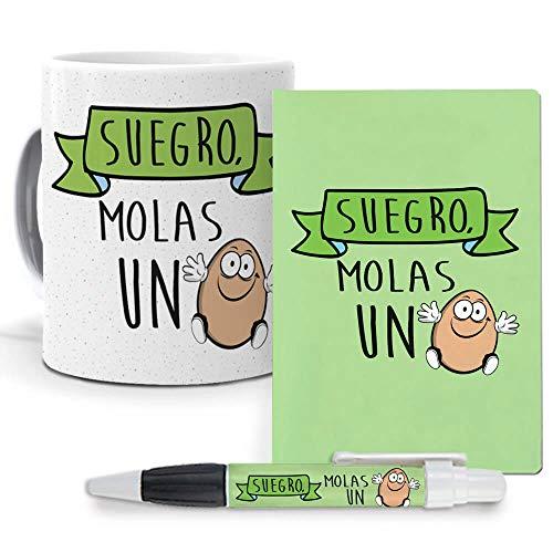 Pack Original y Personalizado suegros. Suegro molas un Huevo. Libreta, boligrafo y Taza Maxima Calidad.