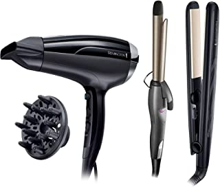 Remington Ceramic 230 Hair Straightener - Black [S3500] plus Remington Pro-Air Shine Hair Dryer - D5215, Black plus Reming...
