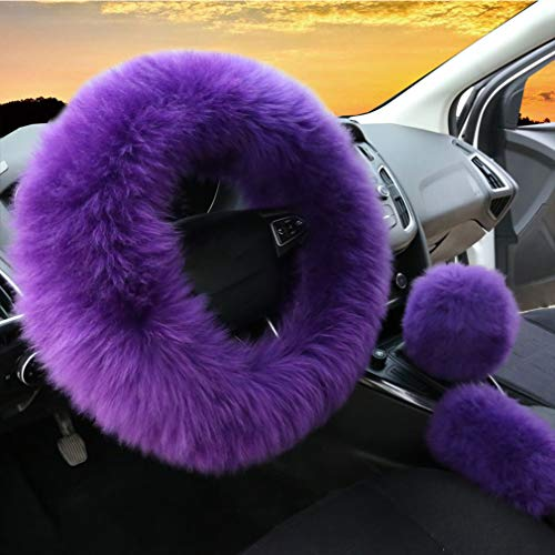 3Pcs Set Womens Winter Fashion Wool Fur Soft Furry Steering Wheel Covers Purple...