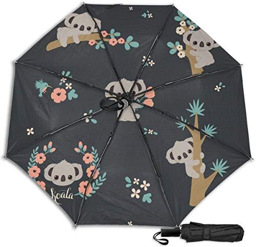 Paraguas de viaje a prueba de viento protección UV (lindo Koala escalada en el árbol)
