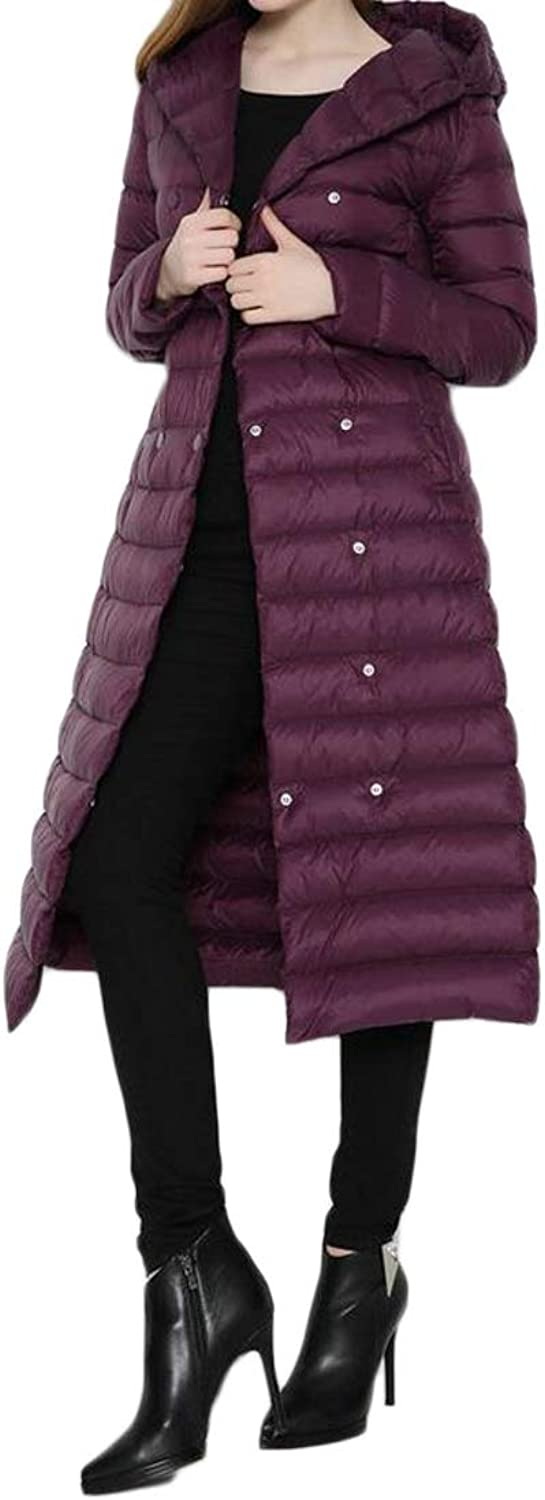 BOBOYU Women Longline Double Breasted Winter Warm Lightweight Hoodie Belted Down Quilted Coat Outerwear