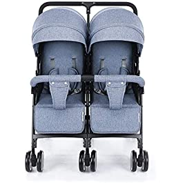 OESFL Double Stroller Carriage, Lightweight and Foldable Shock Two-Seater, Twin-seat Newborn Stroller Baby Pushchair
