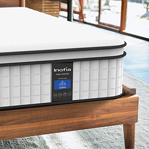 Inofia Queen Mattress,10 Inch Cool Memory Foam Innerspring Hybrid Mattress in a Box, Breathable Comfortable Mattress for Sleep Supportive & Pressure Relief, Queen Size