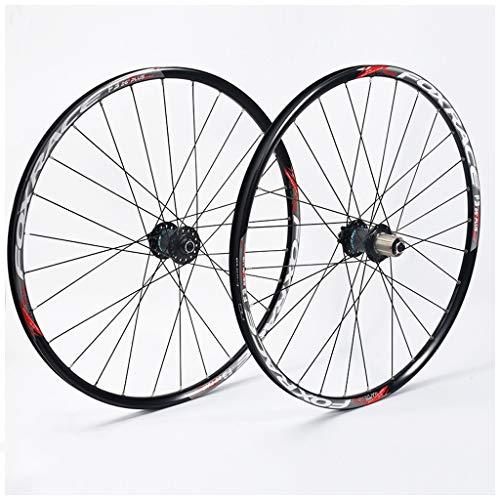 KZEE 26 Inch Mountain Bike Wheels, Double Wall Aluminum Alloy Quick Release Disc Brake MTB Hybrid Wheels 24 Hole 7/8/9/10 Speed Wheels (Color : Black, Size : 27.5 inch)