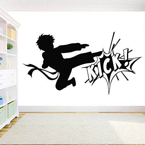 jtxqe Karate Junge Kampf Kick Martial Arts Sport Gym Entscheidung Wandaufkleber Für Zuhause Abnehmbare Wandaufkleber Kunstaufkleber Für Wanddekoration 79X42Cm