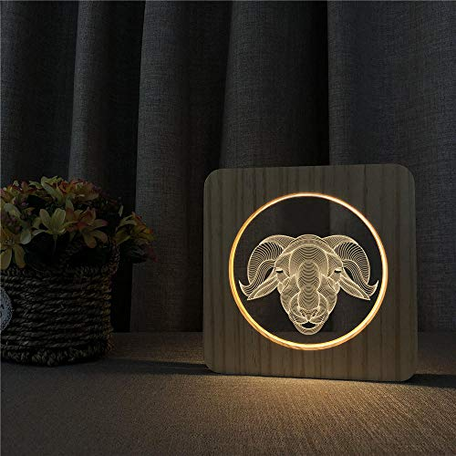 Wood Carving 3D Night Light, Small Goat Head 3D LED Night Lamp Kids Room Decor Acrylic Desk Light Colors USB Night Light for Baby Christmas Gift YOUTH002