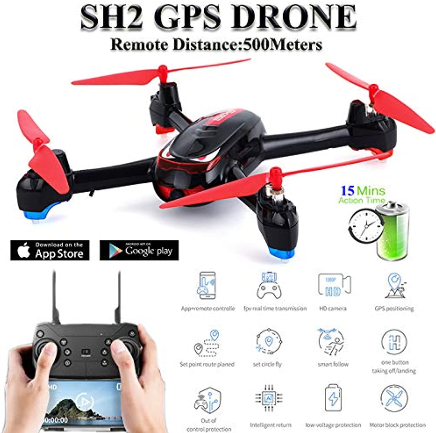 Faironly RC Drohne GPS mit Kamera HD 1080P Weitwinkel Quadcopter Circle Fly Helikopter red