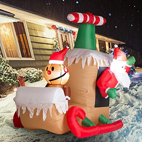 Wonline 6ft Long Christmas Inflatable Santa Claus and Gingerbread Man Taking Airplane Indoor Outdoor Yard Garden Christmas Decorations Blow up with Led Lights for Festive Party Family Favor Decoration
