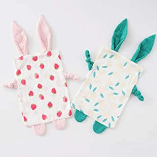 Bunny Security Blanketfor Boys and Girls,Cotton Soft Breathable Muslin Soothing Towel Appeasing Toy,Gift for Infant and Toddler,2 Pcs Set (Strawberry&Orange)