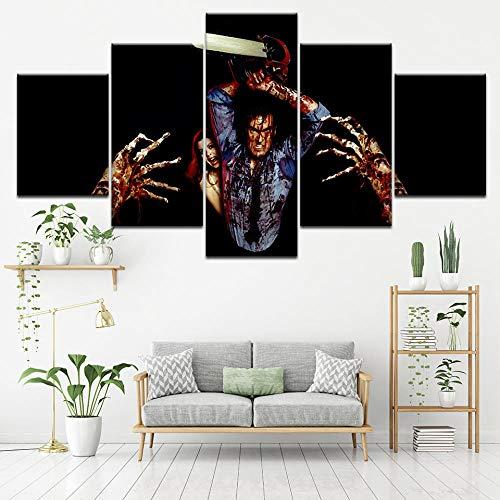 nobrand ZNIDEAL Leinwanddrucke Leinwand Malerei Horrorfilm 5 Stücke Wandkunst Hängen Tapeten Evil Dead Poster Print Home Decor Drucke auf Leinwand Rahmen
