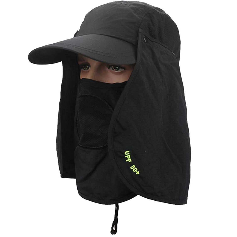 自分自身アルバニー売るKobwaアウトドア360?° UPF 50?+のUV保護夏太陽帽子キャンプハイキング釣りキャップメンズレディースwith Removable Neck & Faceフラップカバー、広いつば
