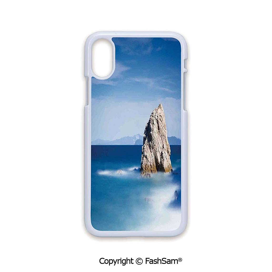 Plastic Rigid Mobile Phone case Compatible with iPhone X Black Edge Big Formless Rock Italian Sea and Sky European Secret Paradise Art 2D Print Hard Plastic Phone Case
